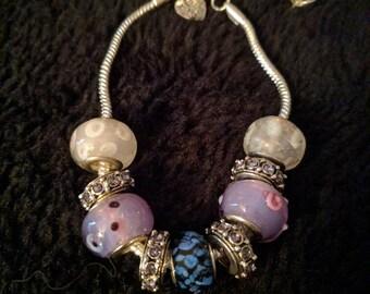 Beautiful Pandora style one of a kind homemade beaded bracelet