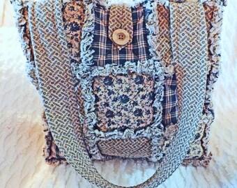 Colonial America Rag Quilt Tote, Blue Tote, Plaid, Flowers, Handmade
