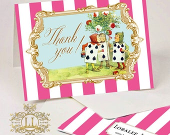 Alice in Wonderland Thank You Notes . Gilded Alice in Wonderland Collection . by Loralee Lewis