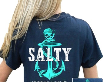 Southern Attitude Salty Pirate Anchor Navy Blue Short Sleeve Unisex T Shirt