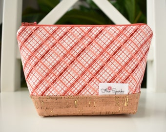 Zipped Pouch - Coral Plaid - makeup bag, cosmetic bag, toiletry bag, accessories bag, small storage bag, small zipper pouch