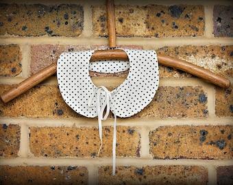 Detachable Peter Pan collar, cream and black dotty