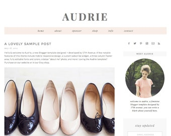 "Blogger Template Premade Blog Design - ""Audrie"" Blogger Theme Pink, Grey"