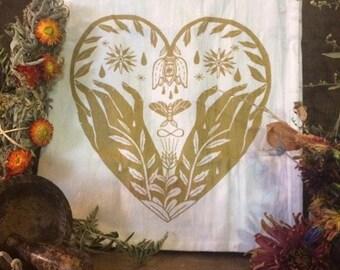 Healing Totem Tea Towel Gold