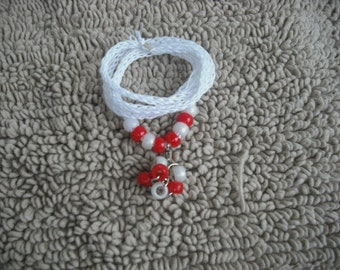 White-Knitted I-cord Wrap Bracelet/necklace 2 in 1 with White/Red Beads and Free Gifts B6-Free Shipping.