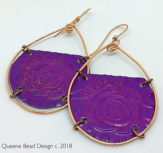 Recycled Embossed Purple Floral Tin Earrings #queenebead
