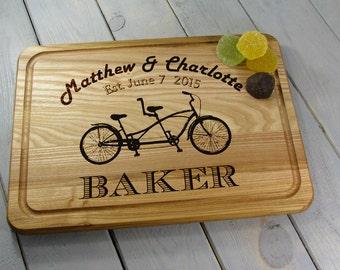 Personalized Tandem Bike Cutting Board Wedding Gift Bicycle Cutting Board, Personalized Bike Wedding Gift, Cutting Board Tandem Bike