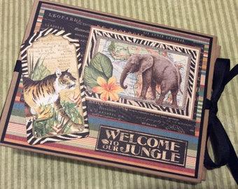 Scrapbook Mini Album, Jungle Photo Album, Camping Scrapbook, Graphic 45, Safari Adventure, Zoo Album, Scrapbook Album