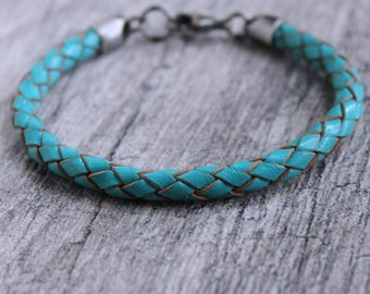 Turquoise Leather Braid Bracelet, Sterling Silver Clasp