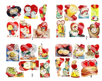 Anthropomorphic Valentines Full Size Retro Digital Download for Stickers, Tags, Cards, Scrapbooking 50-plus  images 10 full size pages