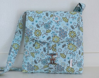 Clearance: Ships Now - SMALL MESSENGER BAG - Blue and Green Floral
