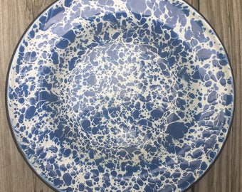 "ON SALE Blue White Spatterware Bowl Saucer Blue White Enamel Metal 8""Excellent Condition"
