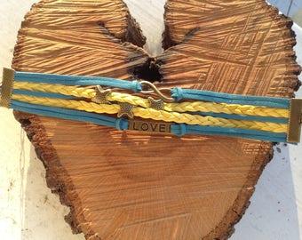 Bracelet multi strand blue and yellow