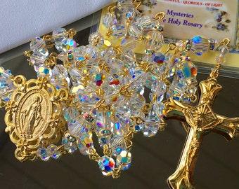 Catholic Swarovski AB Crystal Rosary in Gold