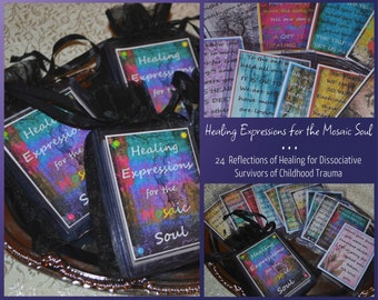 MOSAIC SOUL HEALiNG ReFLECTIONS SeT Of 24 altered art therapy hope ptsd abuse recovery affirmations dissociation DID childhood trauma