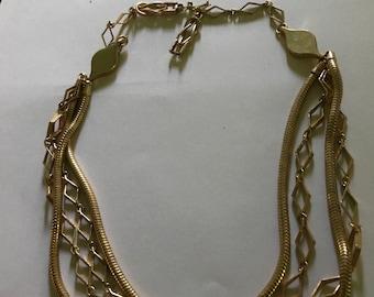 Vintage 4 strand goldtone choker necklace