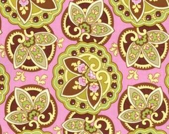 Amy Butler Lotus Coral Star Paisley fabric - 1 Yard