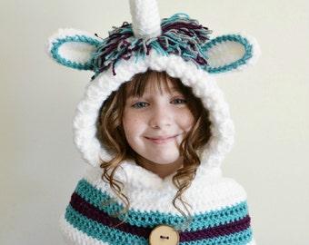 Unicorn Hat - Unicorn Hoodie - Unicorn Cowl - Animal Hat - Hooded Scarf - Crochet Hoodie - Chunky Crochet Hat
