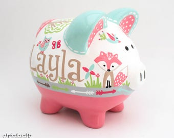 Whimsical Woodland Personalized Piggy Bank in Coral and Turquoise with Fox, Deer, and Owl