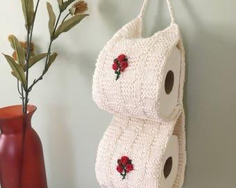 Toilet Paper Storage, Bathroom Decor,  White Knit Crochet Toilet Paper Cozy, Toilet Paper Cover, Housewarming Gift