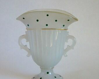 Fan vase milk glass, green dot pattern
