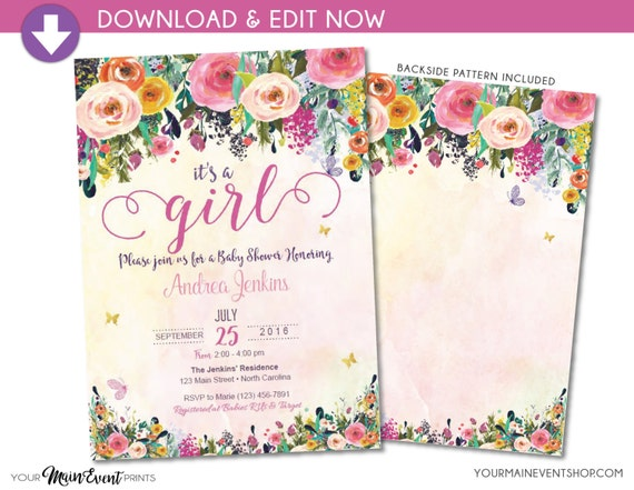 It's a Girl Baby Shower Invitation • Floral Butterfly Baby Shower Invite • Instant Download Watercolor Flower Printable • BS-G-02