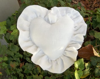 Ruffled Heart Pillow White Linen Pillow Ruffled Pillows Custom Sizes Ring Bearer Pillow Decorative Pillow French Country Cottage