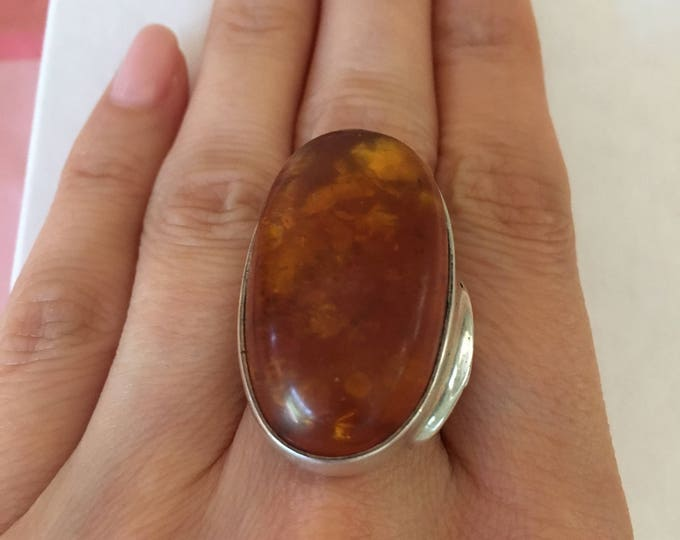 Mid-Century Modernist Huge Amber Stone & Silver Statement Ring