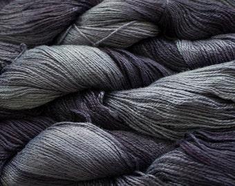 Fine Bamboo, Hand Painted yarn, 300yds - Storm Tonal