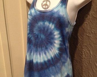 Tye dye tank, flowy tank, women/teen tie dye flowy tank, racerback flowy tank, Blue tie dye flowy tank