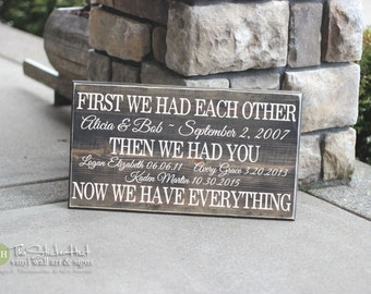 3We Had Each Other Then We Had You Now We Have Everything - With Custom Names & Dates - Family Wood Sign - Distressed Wooden Sign S211