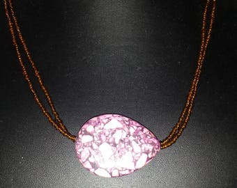 Pink and brown necklace, unique jewelry, inexpensive jewelry, minimalist jewelry, statement necklace, one of a kind, everyday jewelry