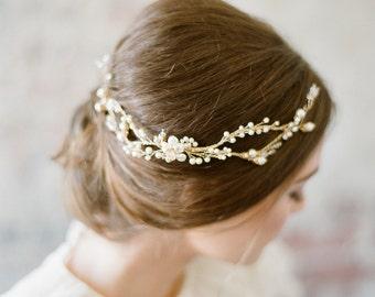 TANNITH Wedding Hair Vine, Bridal hair vine, gold vine headpiece, pearl headpiece, twig and vine bridal headpiece, wedding hair accessory