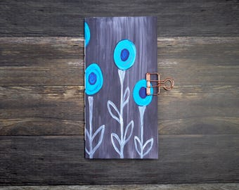 Blue Flower Travelers Notebook Insert - Midori Insert - TN Insert - Scrapbooking Insert - Planning Insert  - Art Insert - Various Sizes