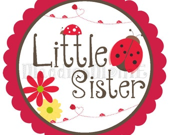 Little Sister Iron on T-Shirt Transfer - Lady Bugs