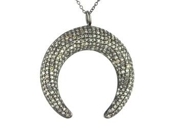 double horn diamond crescent necklace