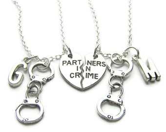 2 Partners In Crime Handcuff Initial Necklaces, Best Friends Necklaces, Sisters Necklaces, Handcuff Necklaces, Friends Necklaces