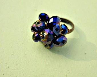 Adjustable Wired Ring Rustic Copper with Faceted Purple Rondelles: Esme WAS 10.00
