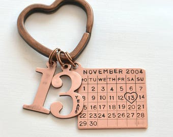 Personalized keychain, any year, anniversary, anniversary gifts, men, gifts for men, for husband, wedding anniversary, custom keychain