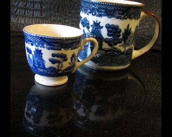 Set of TWO CUPS Japanese Blue WILLOW Vintage Ceramic Mug & Small Espresso Cup | Chinoiserie Pagoda Scene | Made in Japan | Perfect Condition