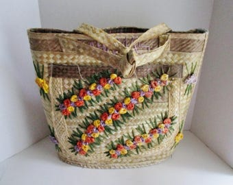 Vintage Straw Tote Bag Large Tote Pocket Bahama Fabric Lined Straw Flowers Beach Tote