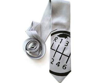 Shifter Knob Necktie. Car guy gift, automotive theme tie. Men's gear shift necktie, silkscreened woven microfiber. Choose silver & more.
