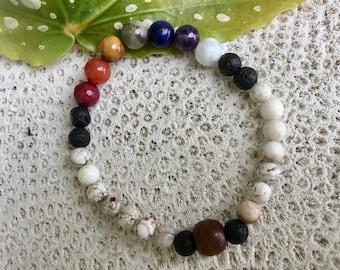 Stone Chakra Bracelet, Unisex Stone Bracelet, Chakra Diffuser Bracelet, Lava Diffuser Bracelet, Stretchy Diffuser Bracelets