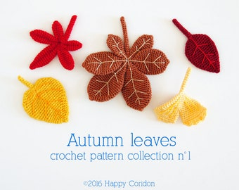 Crochet pattern - Autumn leaves crochet pattern collection n. 1