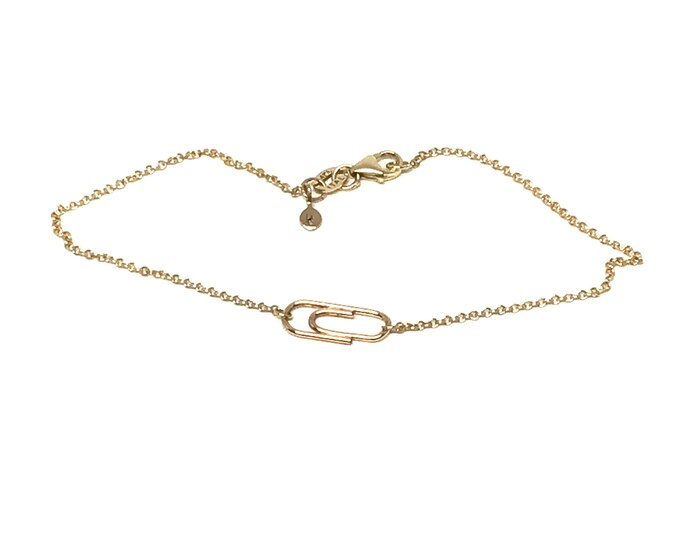 Gold Mini Paperclip Charm Bracelet