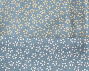 Coupon 50 x 55 cm Japanese fabric reversible small light blue cherry blossom