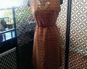 Vintage 60's Mad Men Style Autumn Colors Wool Plaid Sleeveless Dress Medium