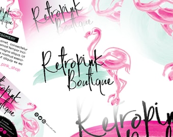7 Piece Branding Design Set | Pink Logo Design | Vintage Boutique Logo | Flamingo Logo Design | Pink Branding Package | Watercolor Logo
