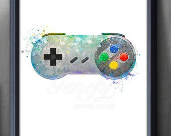 Super Nintendo Game Controller Watercolor Print - Video Game Poster - Retro Poster - Playroom Art - Console Poster - Man Cave Decor