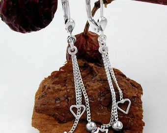 Heart Ball Star Earrings, Silver 925